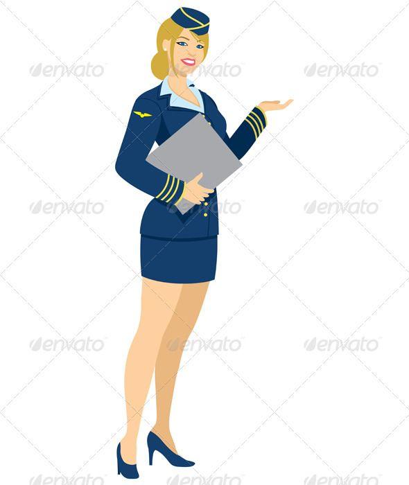 Airline stewardess clipart