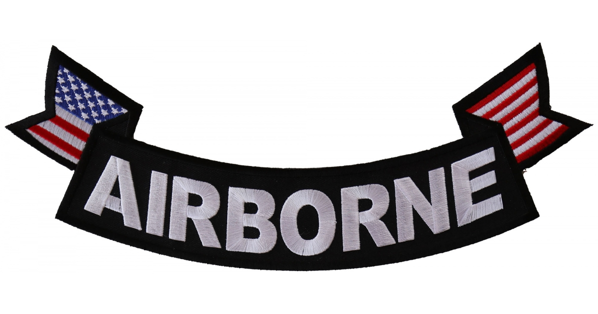 Airborne military patch clipart picture royalty free stock Airborne Large Lower Rocker Embroidered Iron on Patch With Flags picture royalty free stock