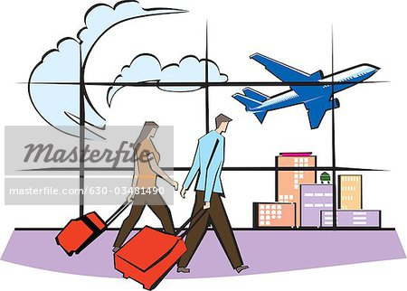 Airlines clipart flight schedule clip black and white Couple pulling his luggage on airport lounge - Stock Photo ... clip black and white