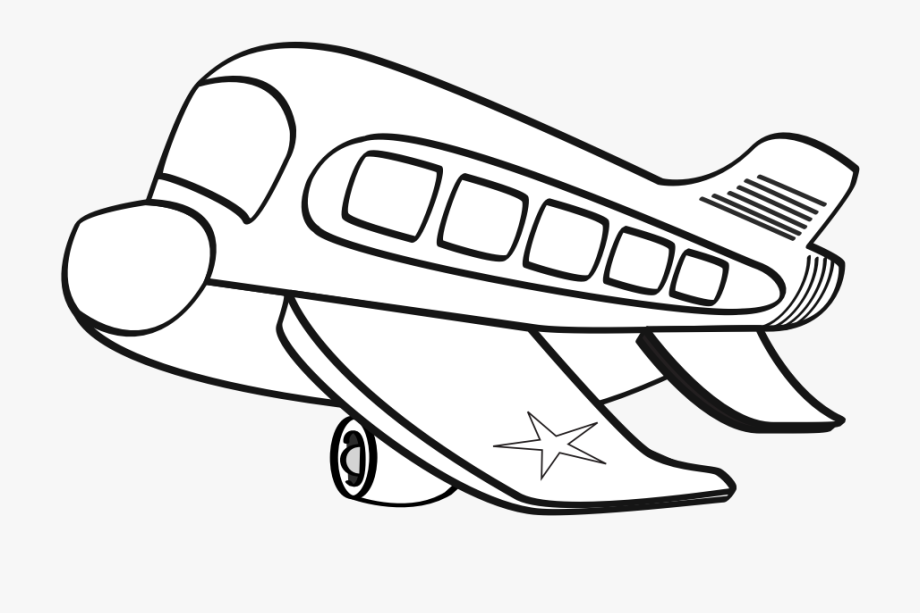 Airplane clipart black white transparent library Funny Airplane Clipart Black And White Cartoon Plane - Aeroplane ... transparent library