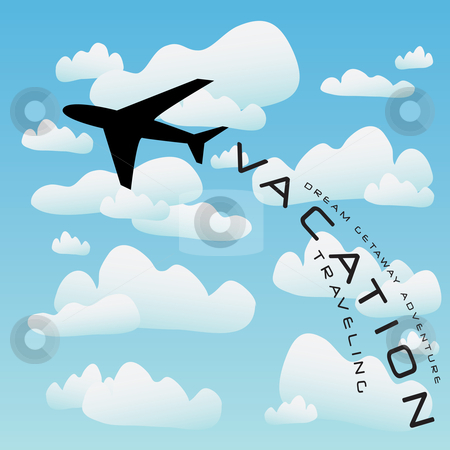 Airplane adventure clipart graphic black and white library Airplane Vacation Travel Vector stock vector graphic black and white library