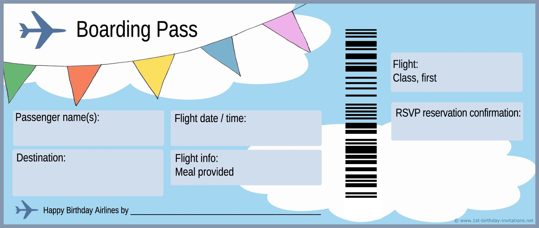 Airplane boarding pass clipart banner library download Plane ticket and boarding pass for first birthday party invitation ... banner library download