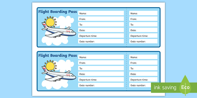 Airplane boarding pass clipart vector library download Editable Airline Boarding Pass - Airport, role play, pack, roleplay vector library download