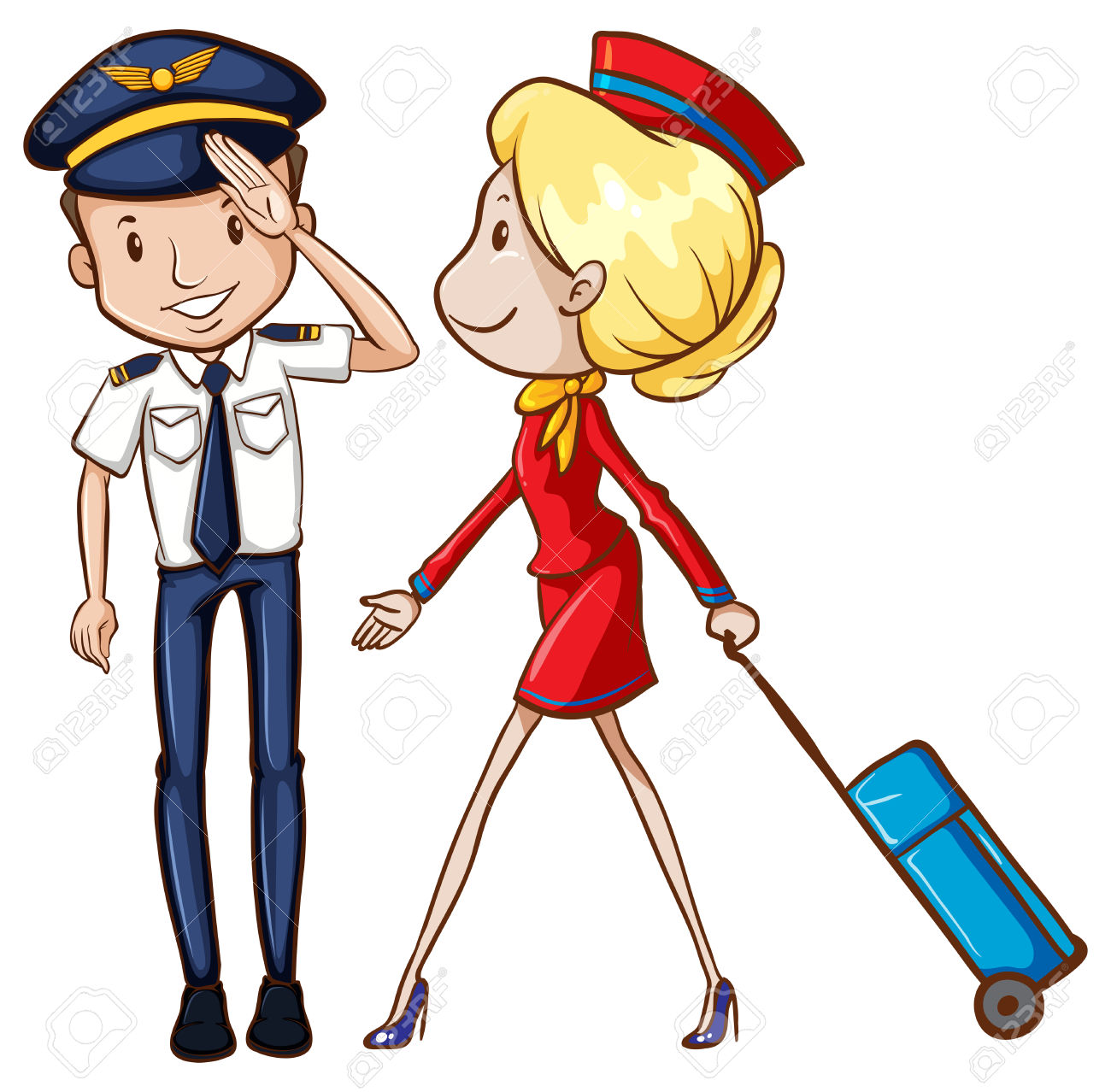 Airplane captain clipart clip free Airline Clipart 32349023 Illustration Of A Pilot And Flight ... clip free