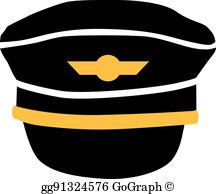 Airplane captain hat clipart clip black and white stock Pilot Hat Clip Art - Royalty Free - GoGraph clip black and white stock