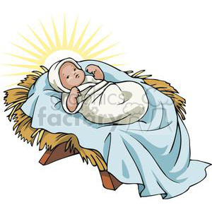 Airplane christmas jesus clipart vector transparent Baby Jesus in a Manger Glowing clipart. Royalty-free clipart # 143670 vector transparent