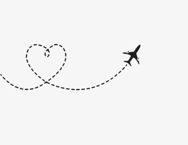 Airplane clipart across usa clip art Heart Shaped Airplane Route, Airplane Clipart, Black, Heart Shaped ... clip art