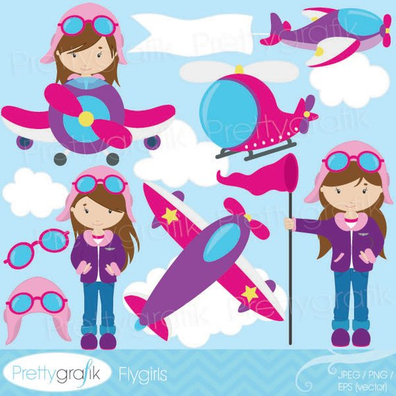 Airplane clipart girl clipart black and white BUY20GET10 - airplane pilot clipart commercial use, vector graphics ... clipart black and white