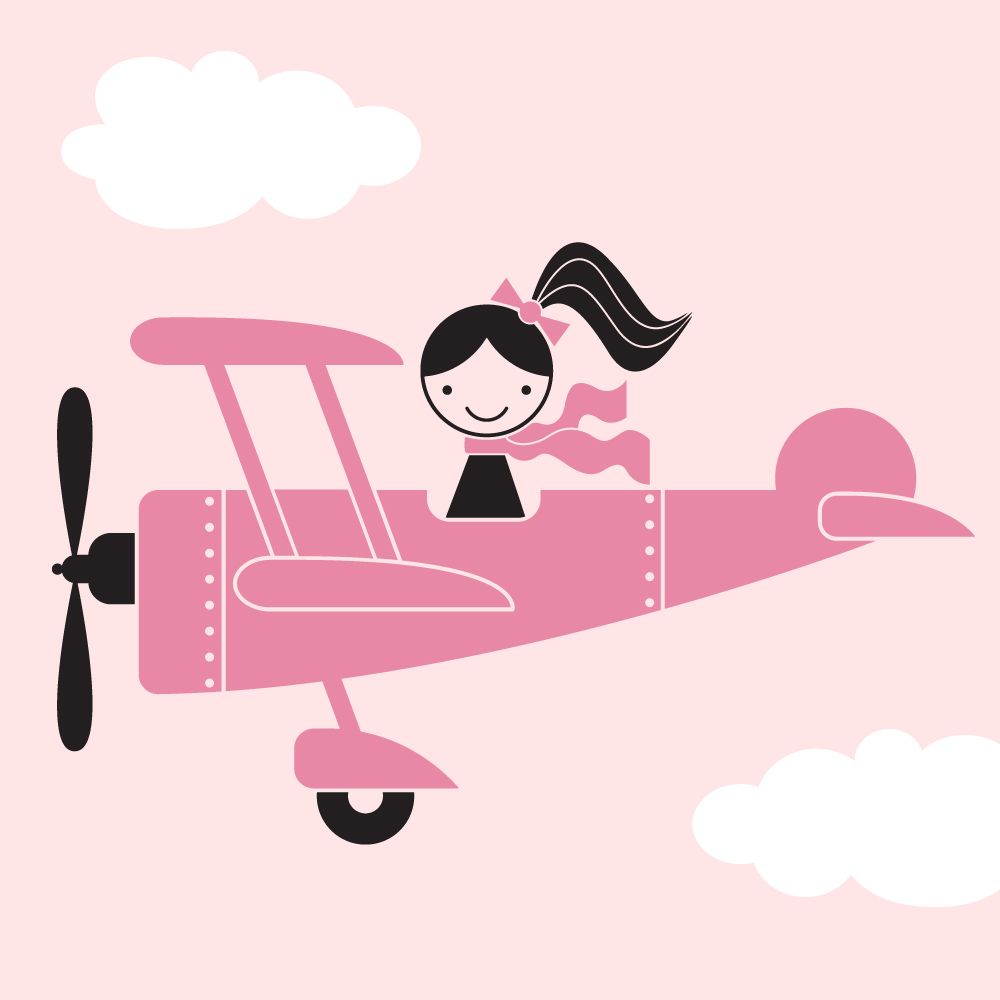 Airplane clipart girly graphic download Airplane Girl Wall Decal | BABY LOVE | Airplane nursery, Wall decals ... graphic download