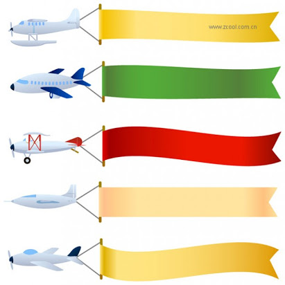 Airplane clipart with banners vector transparent Airplane with banner clipart free vector transparent
