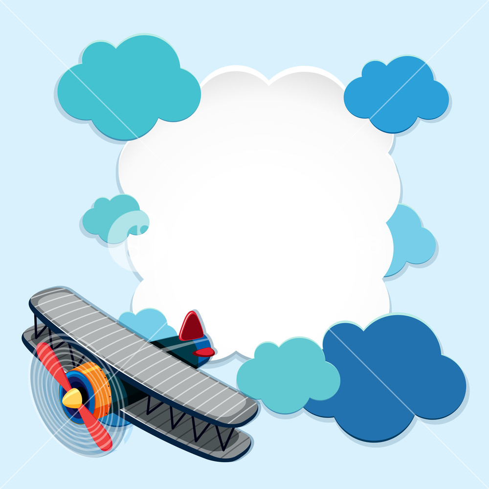 Airplane clouds clipart clipart transparent library Border template with airplane and blue clouds Royalty-Free Stock ... clipart transparent library