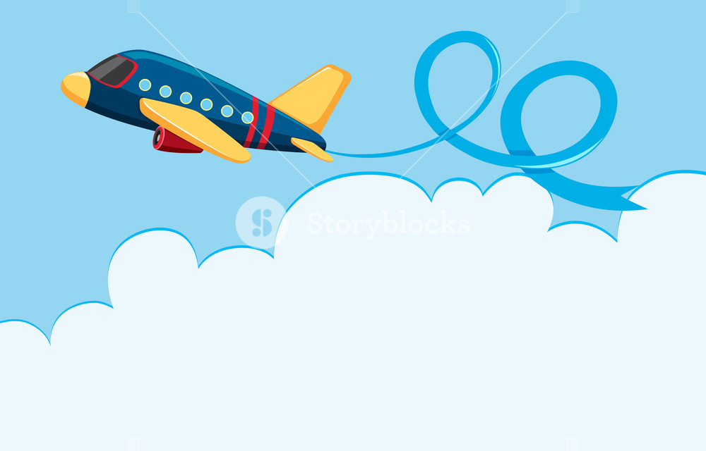 Airplane clouds clipart png black and white stock Sky scene with airplane and white cloud Royalty-Free Stock Image ... png black and white stock