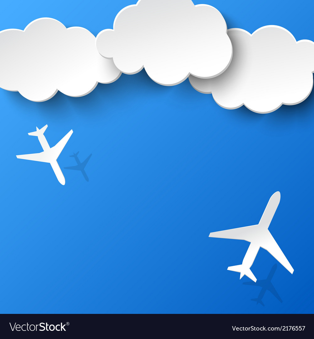 Airplane clouds clipart image free stock Abstract background with two airplanes and clouds image free stock