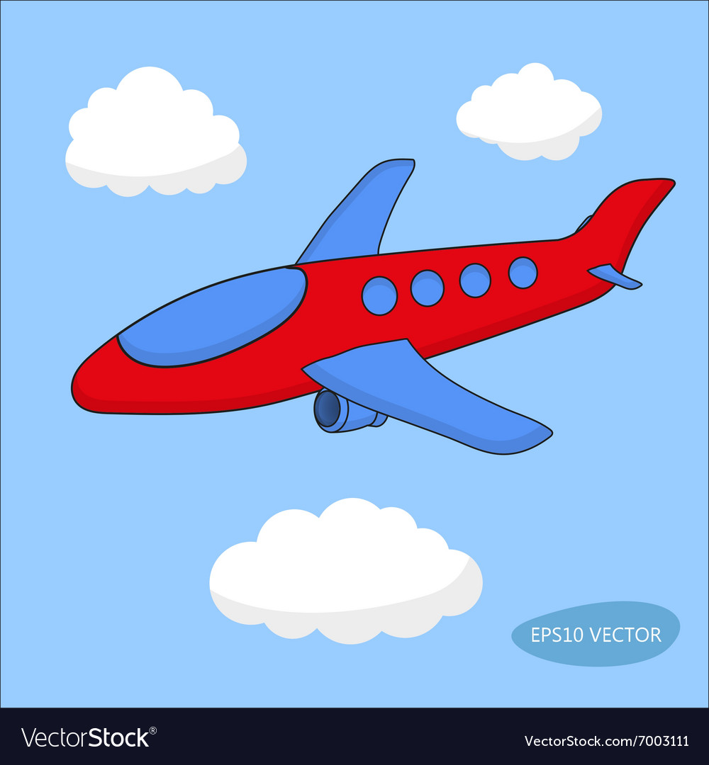 Airplane clouds clipart clip freeuse Red cartoon aircraft in clouds on blue background clip freeuse