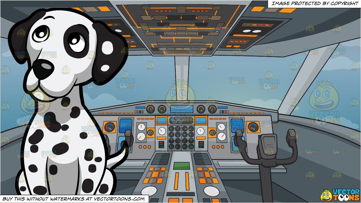 Airplane cockpit clipart clip art transparent library A Curious Dalmatian Puppy Sitting Down and Airplane Cockpit Background clip art transparent library