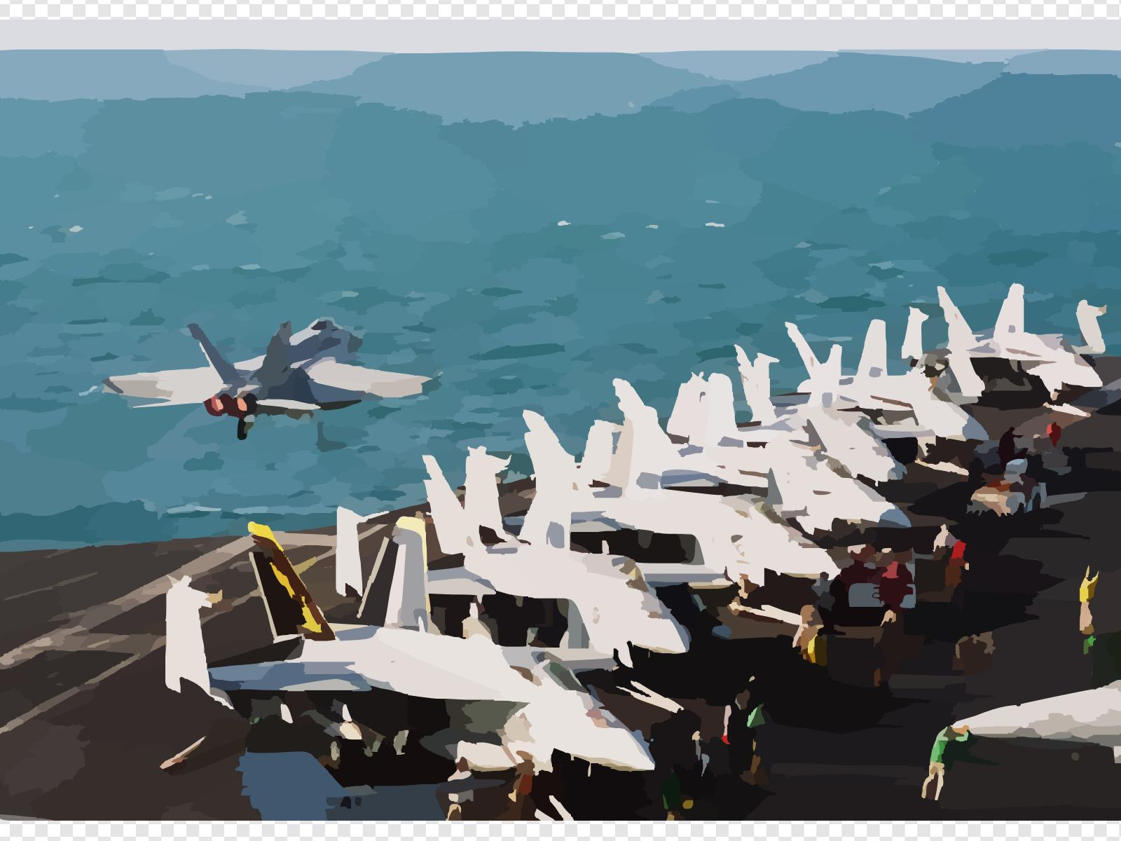 Airplane flight deck clipart vector black and white An F/a-18 Super Hornet Assigned To The Eagles Of Strike Fighter ... vector black and white