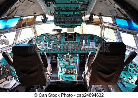 Airplane flight deck clipart clip library stock Soviet era - Ilyushin cockpit clip library stock