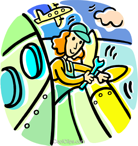 Airplane mechanic clipart free jpg freeuse library airline mechanic working on a plane Royalty Free Vector Clip Art ... jpg freeuse library