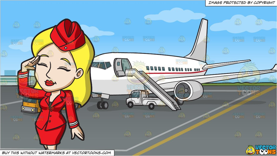Airplane passenger blonde clipart graphic free stock A Female Flight Attendant Salutes The Passengers and An Airport Tarmac  Background graphic free stock