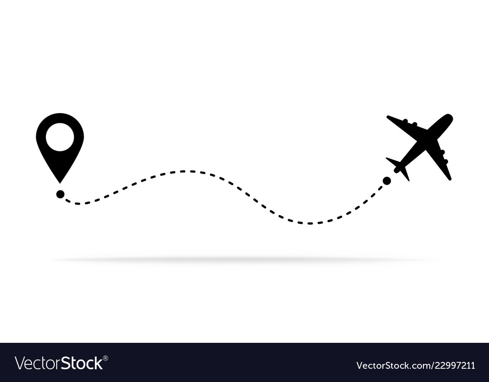 Airplane path clipart image black and white download Airplane travel concept with map pins gps points image black and white download