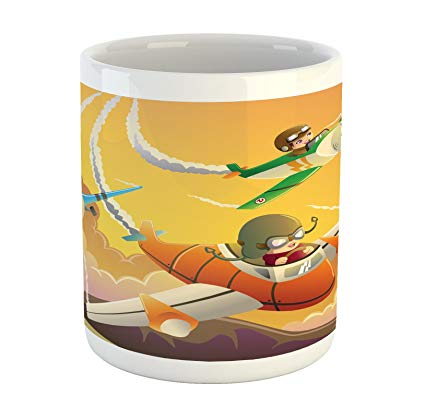 Airplane race clipart vector royalty free Lunarable Airplane Mug, Happy Kids in an Airplane Race Dreams Boys Activity  Happiness Clipart, Printed Ceramic Coffee Mug Water Tea Drinks Cup, ... vector royalty free