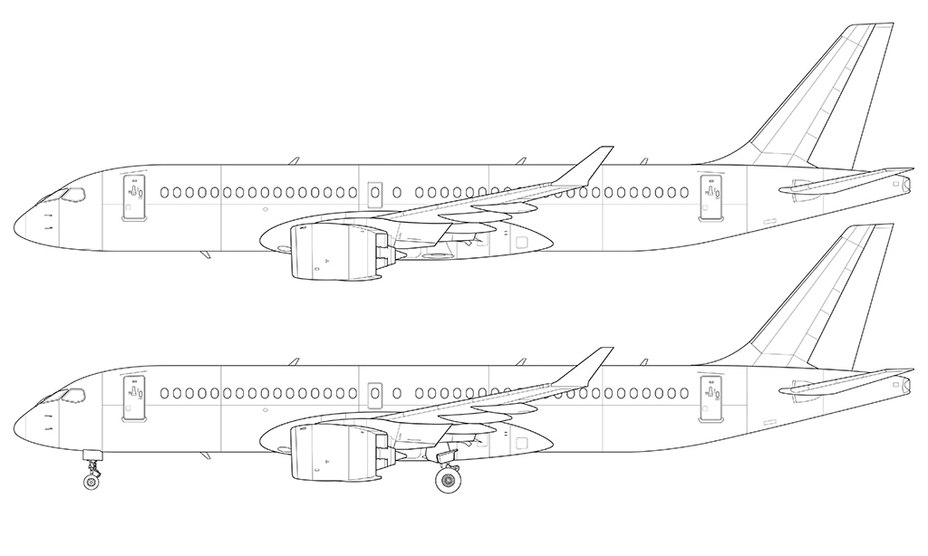 Airplane side view drawing clipart jpg library stock Bombardier CS300 (Airbus A220-300) blank illustration templates ... jpg library stock