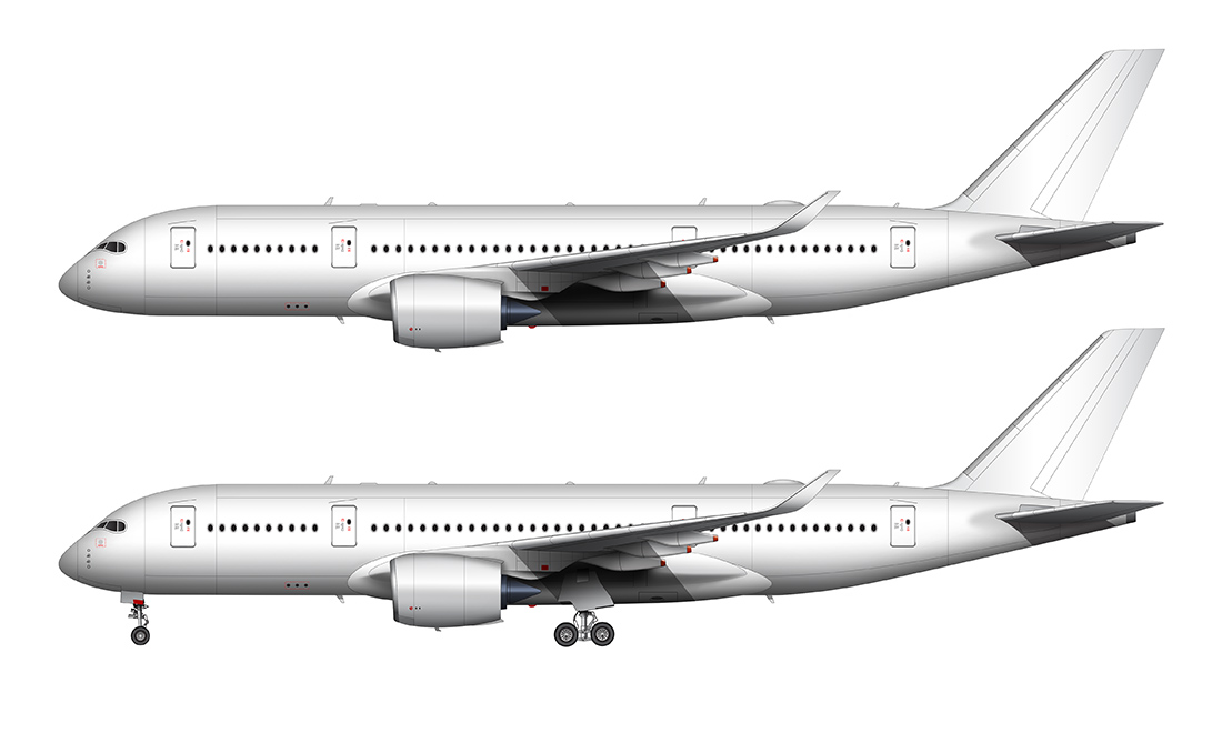 Airplane side view drawing clipart clip free download Airbus A350-800 blank illustration templates – Norebbo clip free download