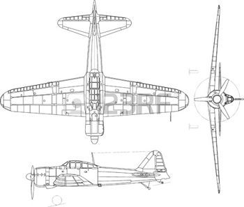 Airplane side view drawing clipart black and white download high detailed vector illustration of old military airplane - top ... black and white download