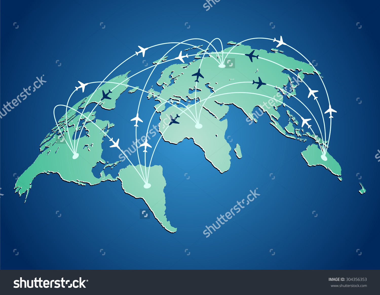 World flight routes airplanes. Airplane to us clipart map