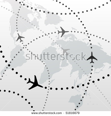 Airplane to us clipart map. World airline flight path