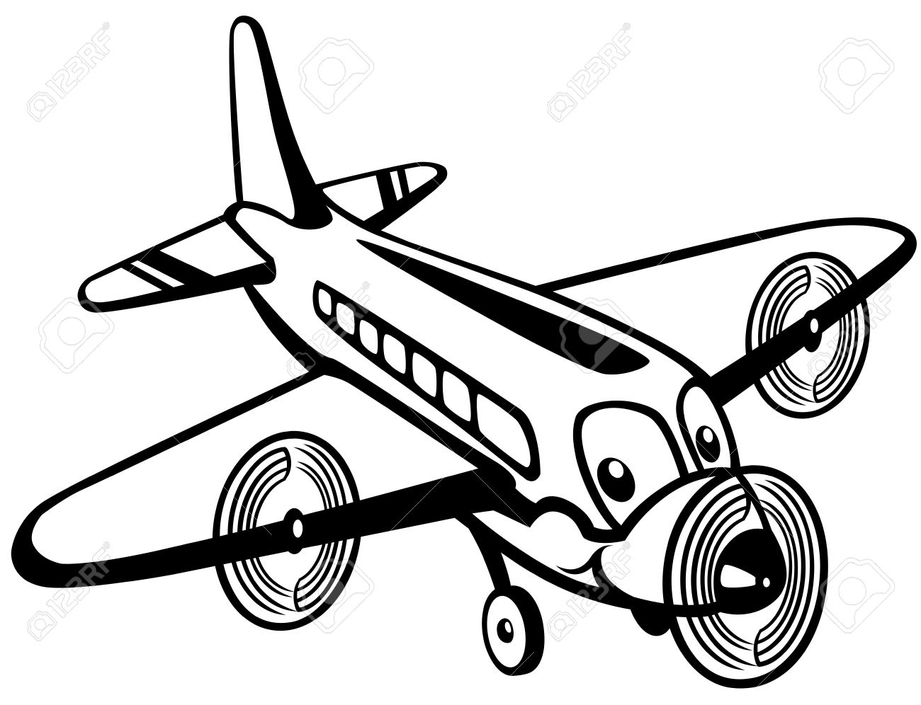 Airplane with tail wheel clipart black and white clip art free library Black And White Airplane Pictures | Free download best Black And ... clip art free library