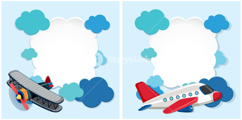 Airplanes frame clipart png freeuse download Border templates with airplanes and blue clouds Royalty-Free Stock ... png freeuse download