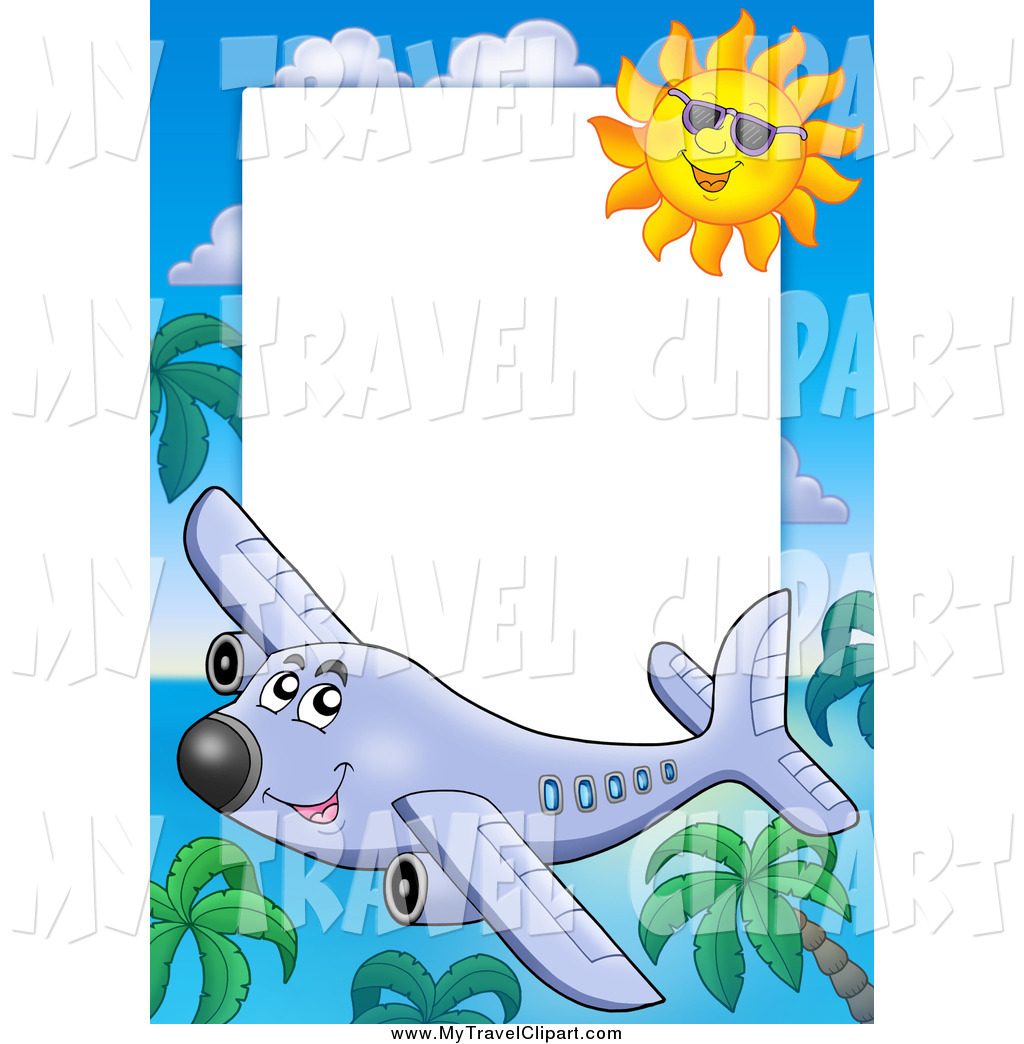 Airplanes frame clipart jpg black and white download Clipart of a Happy Airplane, Palm Tree and Sun Travel Border Around ... jpg black and white download
