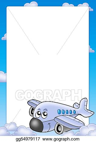 Airplanes frame clipart image black and white Stock Illustration - Frame with cute airplane and clouds. Clipart ... image black and white