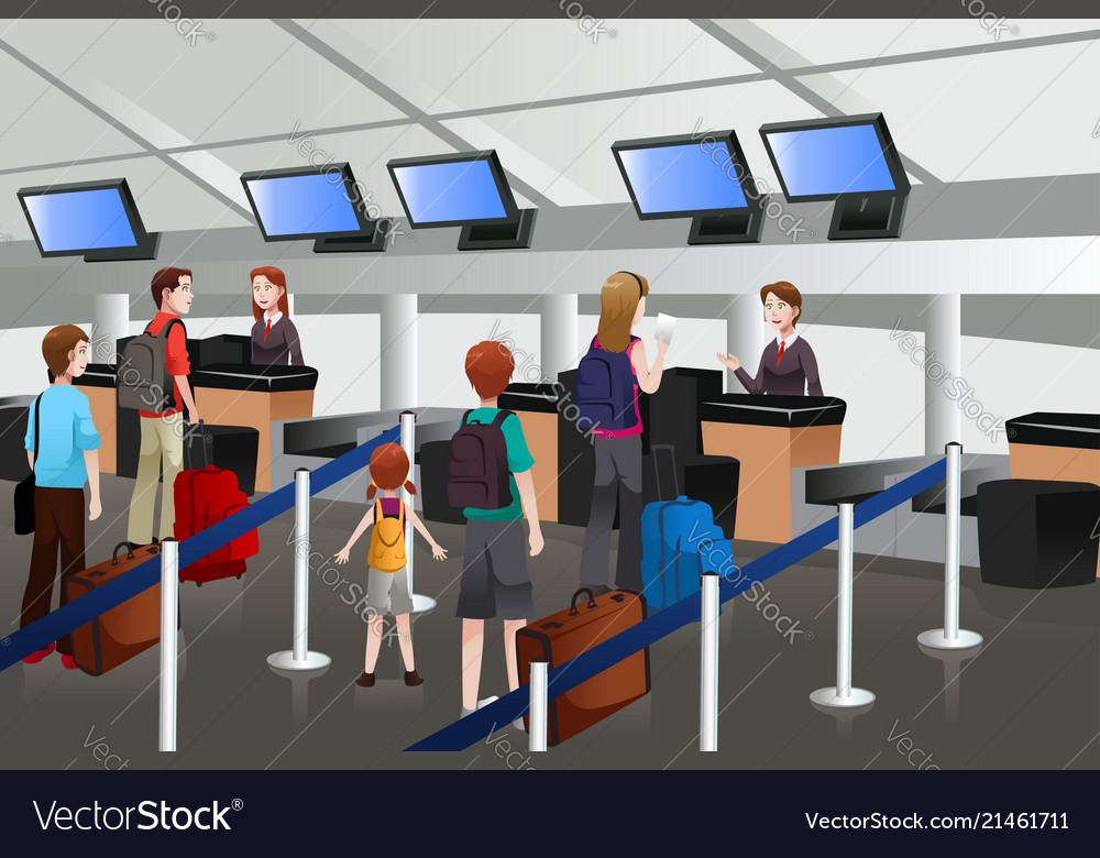 Airport checkin clipart graphic library download Lining up at the check-in counter in the airport graphic library download