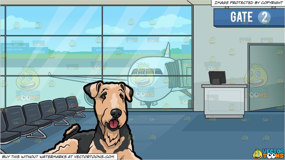 Airport clipart with pets png library library A Resting Airedale Terrier Pet Dog and Airport Boarding Gate Background png library library