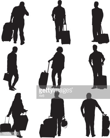 Airport passenger clipart vector library library Passengers With Their Luggage AT AN Airport stock vectors - Clipart.me vector library library