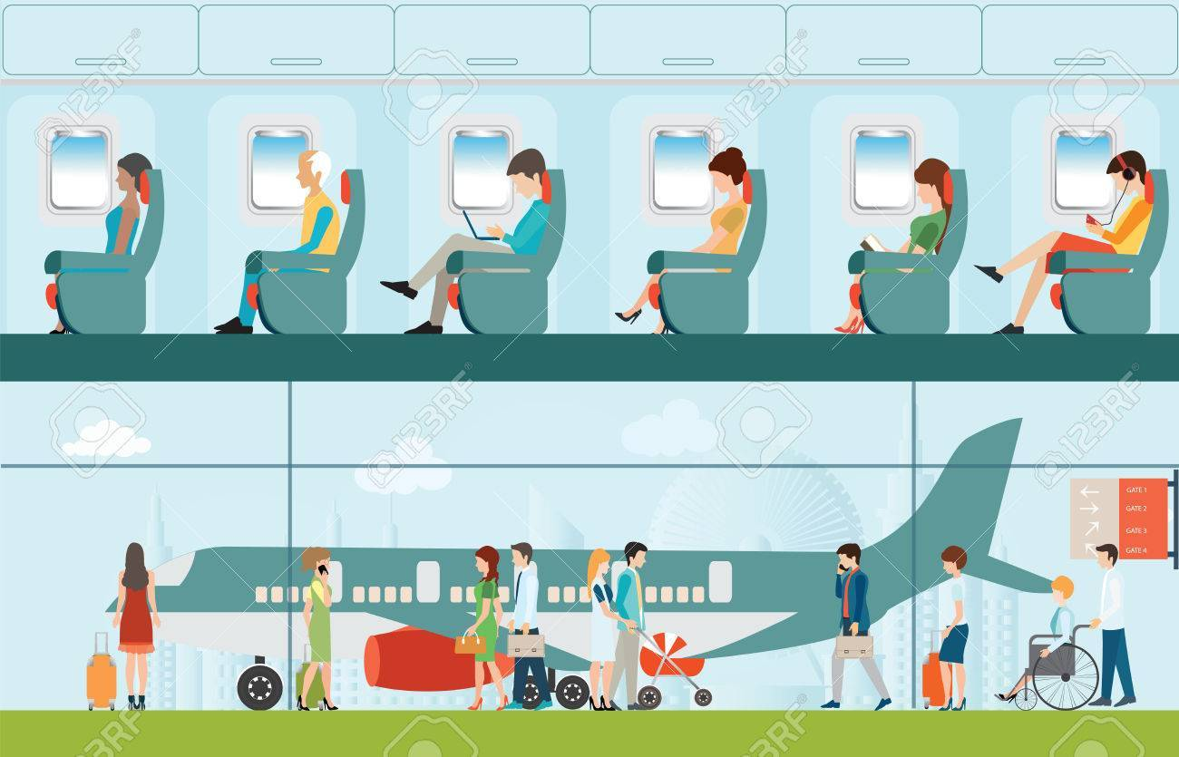 Airport passenger clipart clipart library library Passenger airline in airport terminal and Airline interior ... clipart library library
