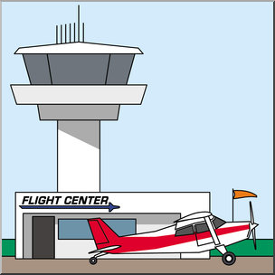 Airport tower clipart banner black and white stock Clip Art: Buildings: Airport Terminal and Control Tower Color I ... banner black and white stock