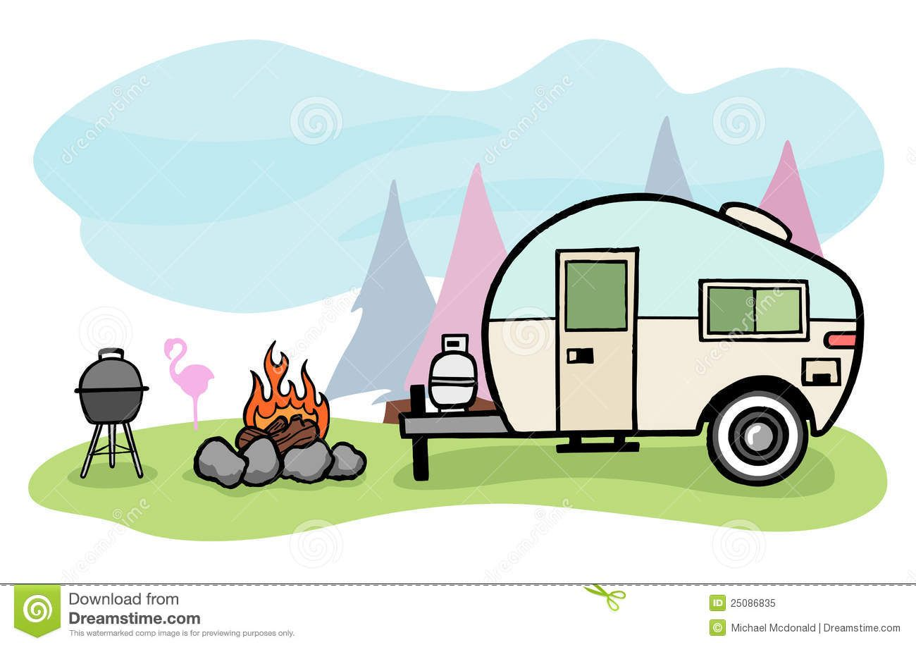 Airstream trialer clipart jpg black and white download Camper Illustration Royalty Free Stock Photo - Image: 25086835 | I ... jpg black and white download