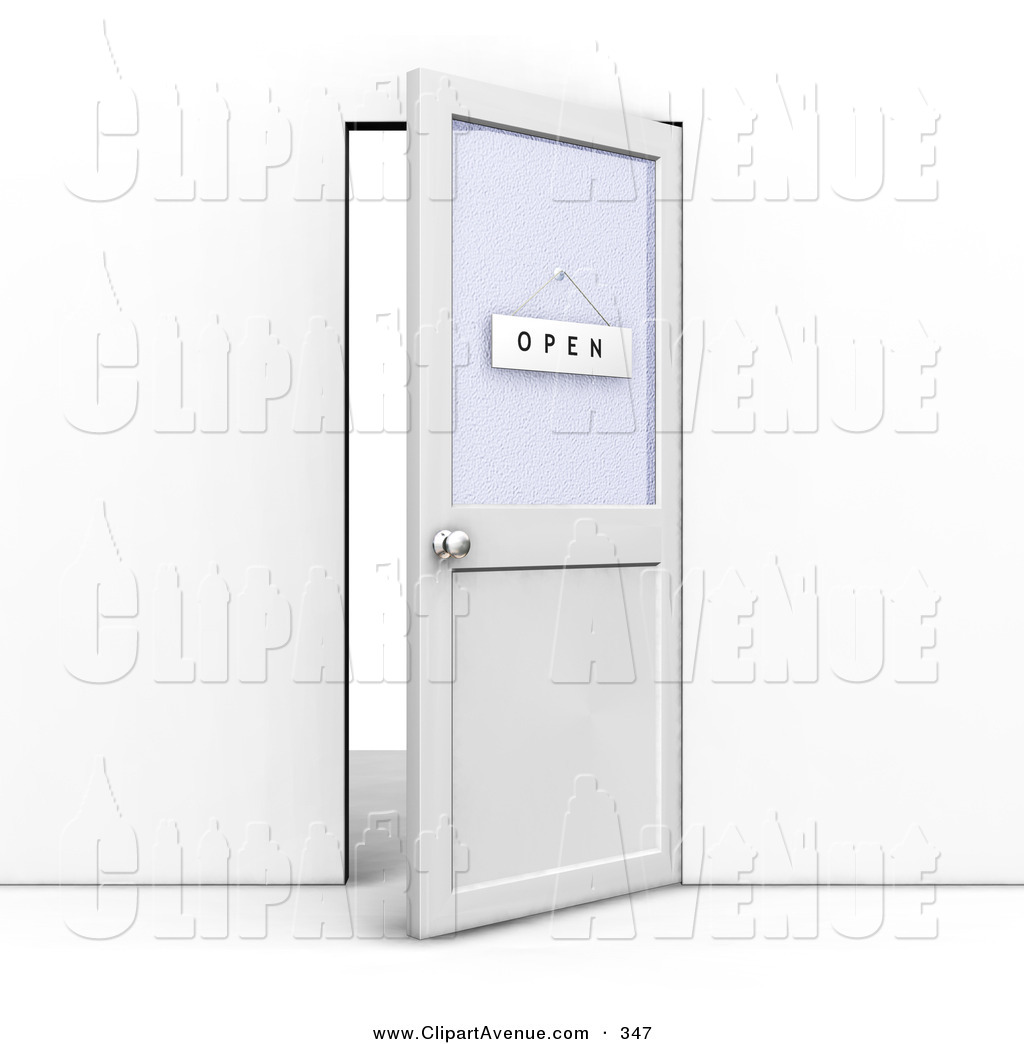 Office door clipart png black and white library Avenue Clipart of an Ajar Office Door with an Open Sign Hanging on ... png black and white library