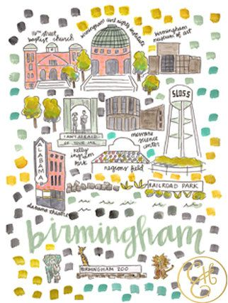 Alabama house watercolor clipart image library download Birmingham Map Print by EvelynHenson on Etsy | Evelyn Henson ... image library download