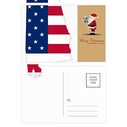 Alabama mail stamp clipart graphic transparent download Amazon.com : Alabama USA Map Stars Stripes Flag Shape Santa Claus ... graphic transparent download