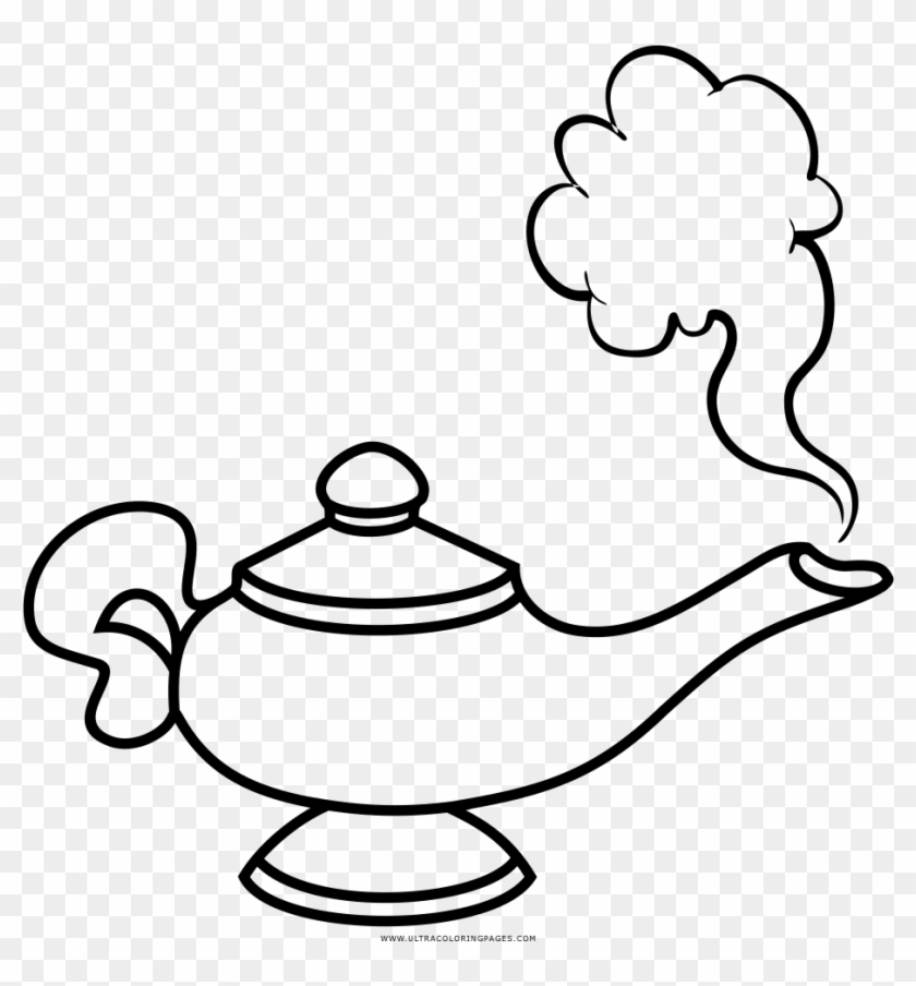 Aladdin black and white clipart png freeuse Genie Lamp Coloring Page - Aladdin Lamp Clip Art Black And White, HD ... png freeuse