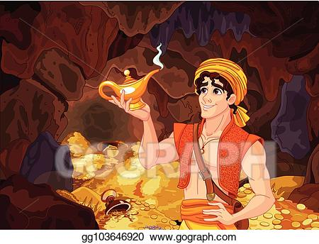 Aladdin coins clipart jpg transparent library Vector Stock - Aladdin and the wonderful lamp. Stock Clip Art ... jpg transparent library