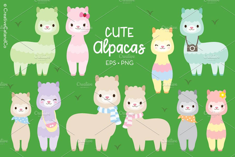 Alpaca and llama clipart graphic black and white Llama Alpaca Vector EPS PNG Clipart graphic black and white
