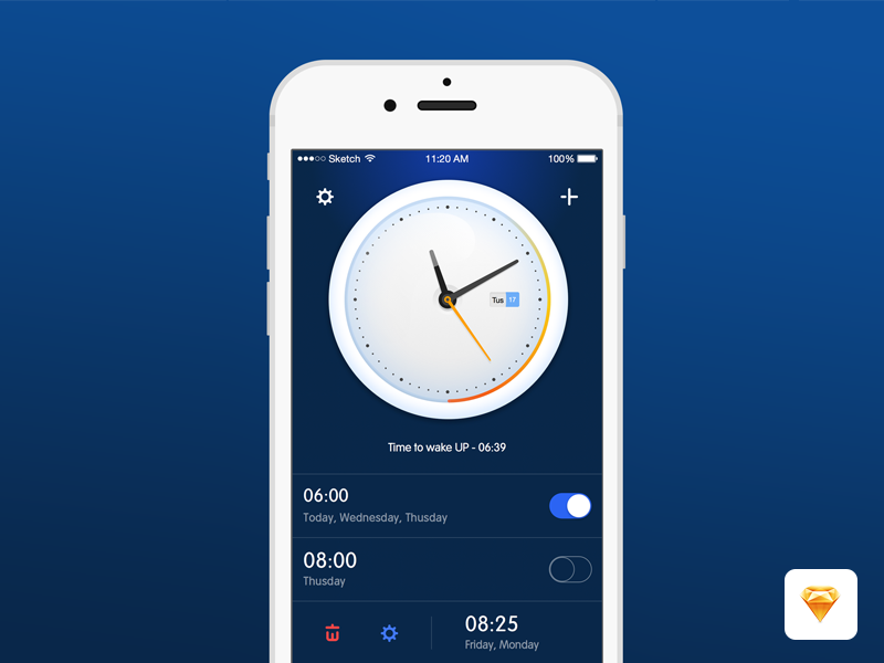 Alarm Clock App Sketch freebie - Download free resource for Sketch ... png free download