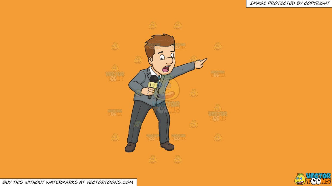 Alarmed clipart man image Clipart: An Alarmed And Terrified Broadcaster Reporting An Emergency Event  on a Solid Deep Saffron Gold F49D37 Background image