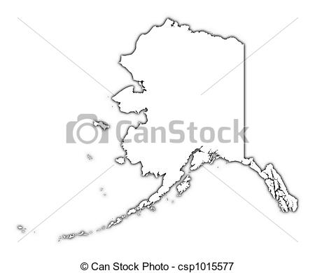 Alaska map clip art clip freeuse library Stock Illustrations of Alaska (USA) outline map with shadow ... clip freeuse library