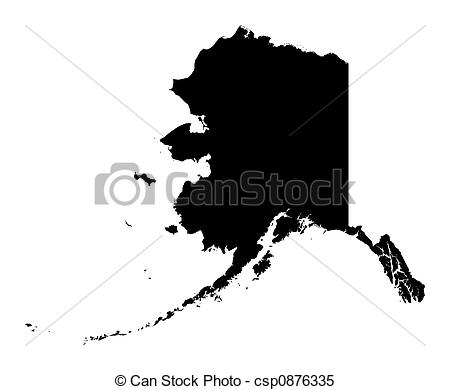 Alaska map clip art jpg transparent stock Stock Illustrations of map of Alaska - Detailed isolated b/w map ... jpg transparent stock